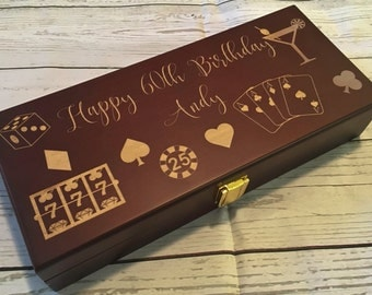 Personalized Mahogany Wood Poker Chip Set with 100 Chips laser engraved//games//Birthday