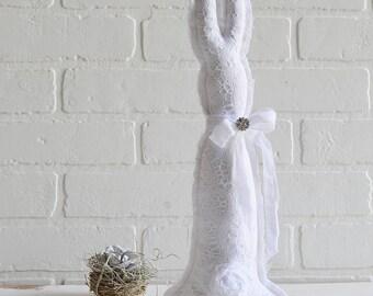 White Lace Bunny, Lace Rabbit, Stuffed Fabric Bunny, Easter Bunny, Shabby Bunny, Shabby Rabbit, Shabby Easter Decor, White Lace Bunny