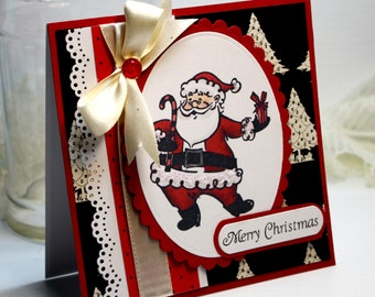 "Handmade Christmas Card Greeting Card 3D 5.25 x 5.25"" Stampin Up Merry Christmas Santa Holiday Season Stationery Paper OOAK"