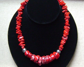 Sterling Silver Chunky Red Coral Necklace