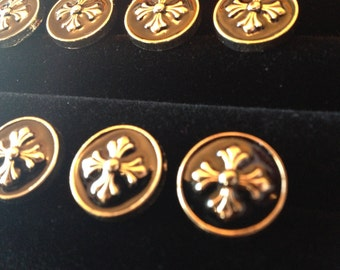 Black Enamel Gothic Cross Gold Buttons Medieval Cotehardie Heraldic SCA 1/2 Inch Set of 8