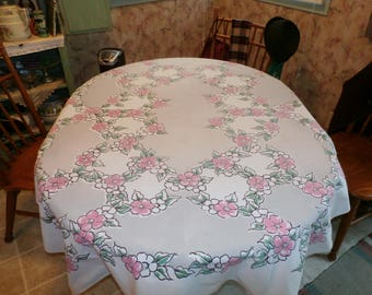 "Pretty 1950s Vintage Cotton Dogwood Flower Design Tablecloth Pink, Grey, Black  50"" x 64 1/2"""