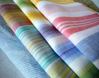 Linen fabric assorted remnants sale! European linen flax out cuts & scraps for sewing craft projects ; Pastel striped pure linen fabrics;