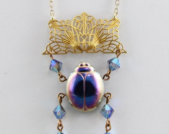 Handmade Brass Necklace Egyptian Scarab Green  Blue and Gold Russian Gold Plate Filigree 22  Inch Necklace Oscarcrow