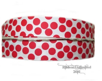 10 Yds WHOLESALE 7/8 Inch WHiTe with ReD Sugar Dots grosgrain ribbon LOW SHIPPING Cost