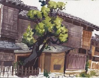 Shirakawa Houses- mini painting