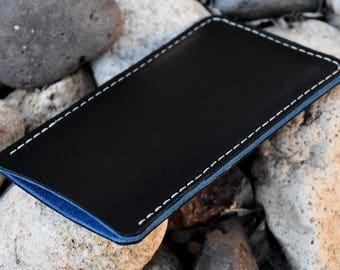 iPhone 7 Plus Leather Case, Black Leather Case, Blue Suede Lining, iPhone Case, iPhone 7 Plus Leather Case, iPhone 7 Case, iPhone Sleeve