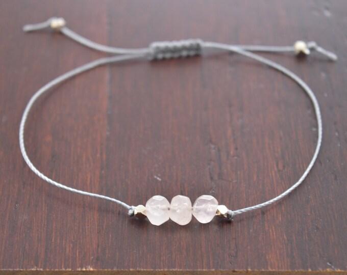 Rose Quartz Bracelet, friendship bracelets, wish bracelet, best friend gift, minimalist jewelry, best friend bracelet, beaded bracelet