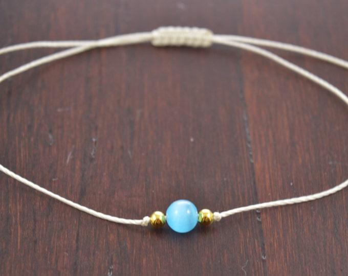 Tigereye Blue Bracelet, Tiger Eye Gemstone, Wish Bracelet, Best Friend Gift, Minimalist Jewelry, Best Friend Bracelet, Beaded Bracelet