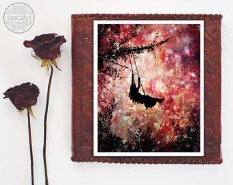 mixed media painting, silhouette illustration, giclee print, fine art print, girl on swing, girls room decor, pink wall art
