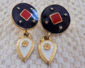 Vintage earrings, navy blue, red and white enamel with a flower dangle stud earrings, unique earrings