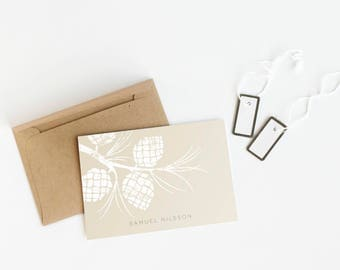 Pinecone Stationery Set, Personalized Note Cards, Rustic Folded Stationery // PINECONE