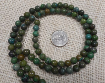 10mm Green/Brown Turquoise Round Gemstone Beads 15 in. strand  T77