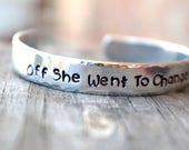 Graduation Gift - High School Graduation - College Graduation - Girl Power - Off She Went to Change the World - Hand Stamped Jewelry-