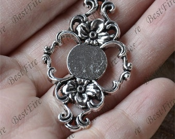 10 pcs Antique Silver round Cabochon connector pendant tray (Cabochon size 10mm),bezel charm finding,lacework finding,cabochon blank finding