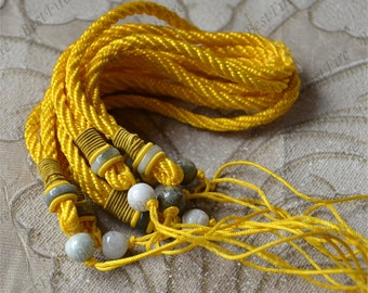 2strands 5mm Thick yellow Cord With Natural jadeite Beads 10mm charm rope