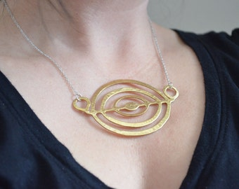 Gold Circle Necklace, Textured Brass Ring Pendant, Abstract Statement Jewelry