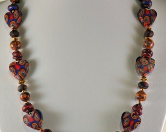 Fimo caned necklace with FREE matching ear rings.