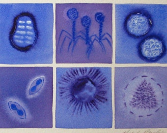 Violet Viruses - original watercolor painting