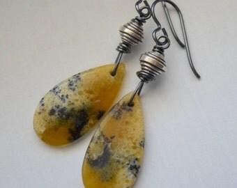 Yellow Opal Stone Earrings, Arborization Opal Slab Nugget, Thai Silver, Oxidized Sterling Silver Earrings