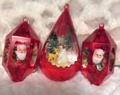 MOTHERS DAY SALE Vintage Jewel Brite Christmas Ornament Diorama Three Elf Santa Deer Snowman Angel Reindeer