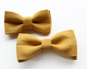 Vintage yellow matching father son bow tie