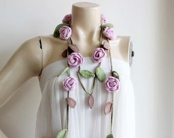 Pink Rose Scarf-Crochet  Scarf-Lariat Necklace Scarf-Cotton and Bamboo Scarf-Pastel Rose Scarf with Green and Brown Leaves