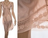 Shimmering sheer silky soft glossy caramel nylon and delicate floral lace bodice and hem detail 1980's vintage full slip petticoat - PL1572