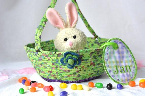 Boho Easter Basket, Handmade Rustic Purple and Lime Easter Basket, Lime Green Flower Girl Basket, Keepsake Easter Decoration