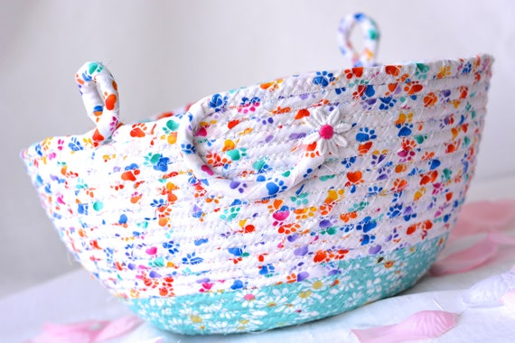 Rainbow Easter Basket, Quilted Artisan Bowl, Handmade Candle Holder, Hand Coiled Fabric Basket, Cat Lover Gift Basket