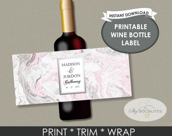 Pink Marble Printable Wine Label | Pink and Silver, Wedding Wine, Bride and Groom | DIY Instant Download