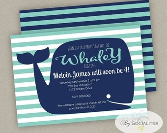 Whale Party Invitation | Blue Whale Invitation | Preppy Whale | Pool Party | Aquarium Party |  Digital Invitation / PDF Instant Download