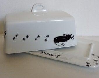 Handpainted sleeping Black cat on ceramic butter dish