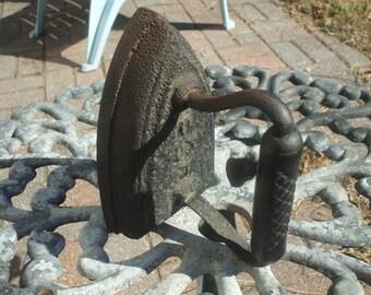 Black Antique Vintage Cast Iron Sad Iron Flat Iron Door Stop Paperweight U DX #7 Rustic Shabby Country Victorian Decor