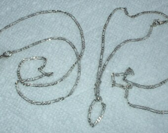 "Two Vintage Sterling Silver Necklace Chains Figaro Links  24"" and 22"" 2MM 1980's"