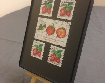 """Strawberry - Recycled Postage Stamp Framed Art 3.5""""x5"""", strawberries, fruit, berries"""