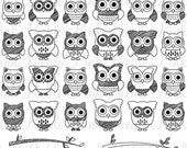 HALLOWEEN SALE Cute Doodle Owl Clipart Clip Art, Black and White Doodle Owl Clipart Clip Art Vectors - Commercial and Personal