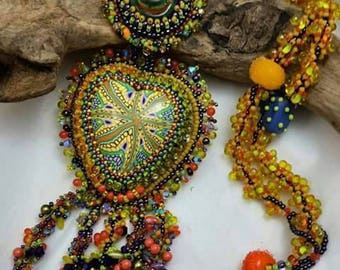 TROPICAL SMOOTHIE BEAUTY Bead embroidered and bead Woven Heart Necklace with Luscious, Delectable Fringe