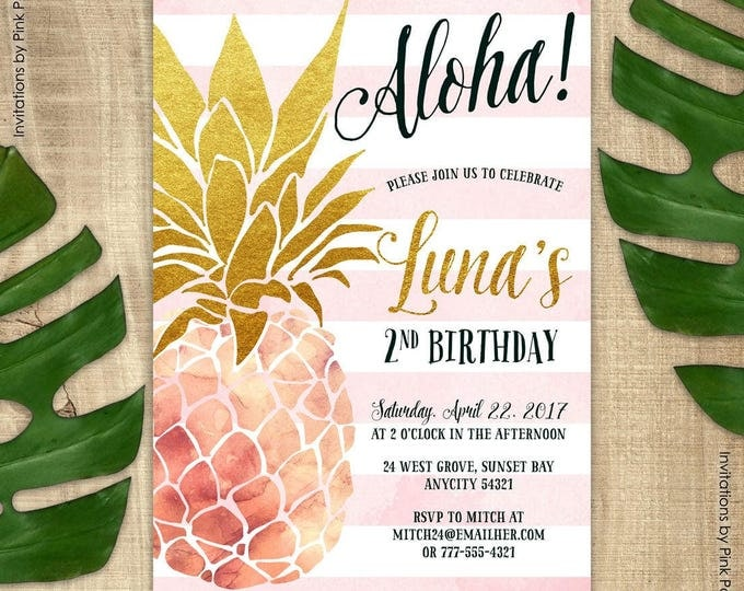 Pineapple Invitation, Birthday Party Invitation, Pink and Gold Pineapple, Aloha Luau Hawaiian Printable Invitation