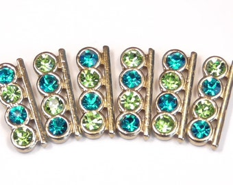 Six 2 Hole Slider Beads 2 Hole Spacer Beads 4mm Alternating Peridot Green & Turquoise Blue Rhinestones In Gold Tone Metal