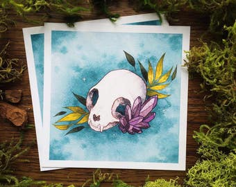 Watercolor Cat Skull Botanical Amethyst Crystal Print by Michelle Kent