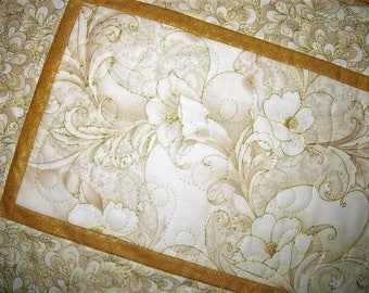 Elegant Table Runner, floral gold metallic, quilted table runner, handmade, metallic, fabric from Robert Kaufman