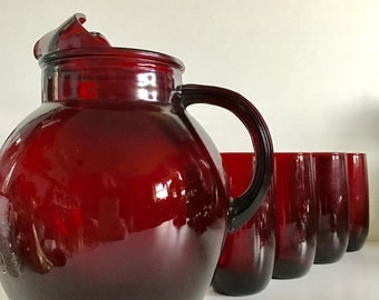 Vintage Red Pitcher and Glass Set