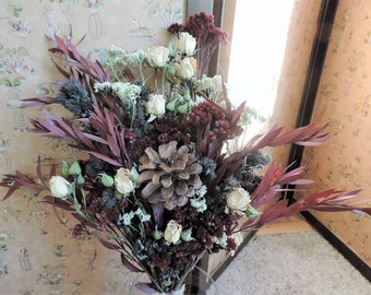 Dried Flower Bouquet Floral Arrangement Christmas Holiday Pine Cone Eucalyptus Yarrow Burgunday Decoration White Rose Spray