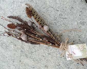 DIY Bundle Natural Woodland Dried Pods Pinecones Pussy Willows Fern Fronds and Pheasant Feather Floral Supply