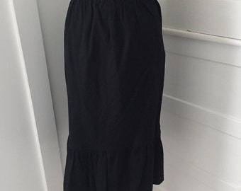 VINTAGE 60s 80s Black Ruffle Fall Runway Cotton Straight Fitted Pencil Wiggle Skirt