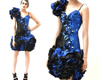 80s Prom Dress with Blue Sequins Ruffles Size XXS XS// Vintage 80s Pageant Dress Size XS Small  Blue Black Alyce Designs