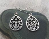 Silver Bohemian Earrings - Silver Moroccan Earrings - Silver Flower Earrings - Silver Tear Drop Earrings