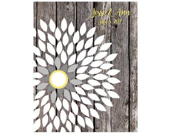 Sunflower Wedding, Guest Book, Wedding Guestbook, Guestbook Alternative, Dahlia Guestbook Personalized Wedding Poster, 16x20 85 Signature