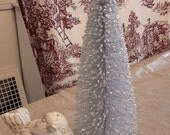 8 in SPARKLY GRAY bottle brush tree silver glitter grey vintage style decoration